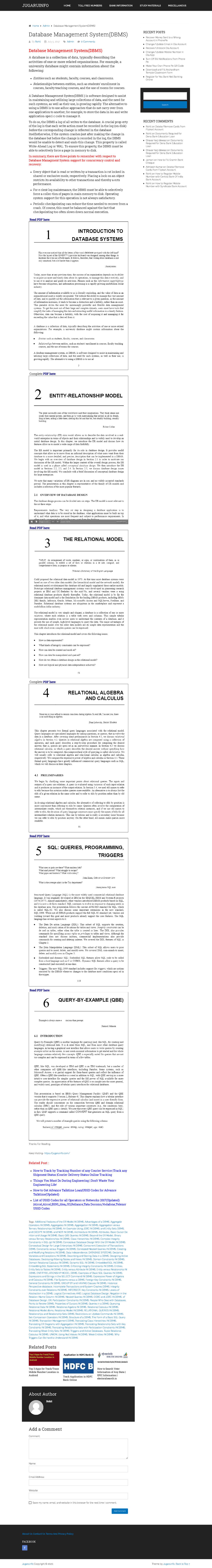 Database Management System Dbms Jugaruinfo Cs404pc Studocu
