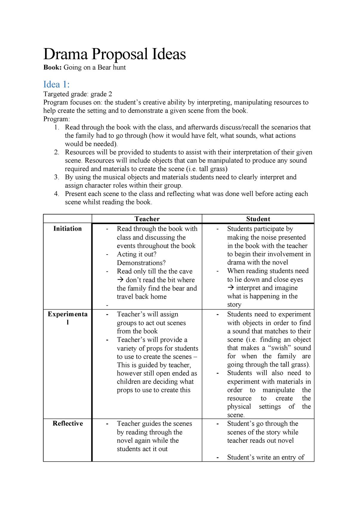 Drama-Proposal-Ideas - EDUC1704: Education And Creativity