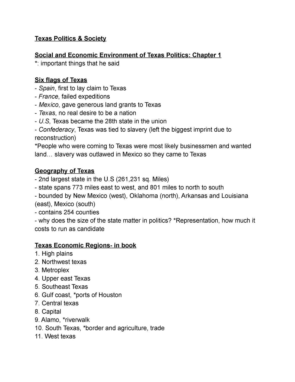 Texas Politics - Lecture notes 1 - POL 1133: Texas Politics and