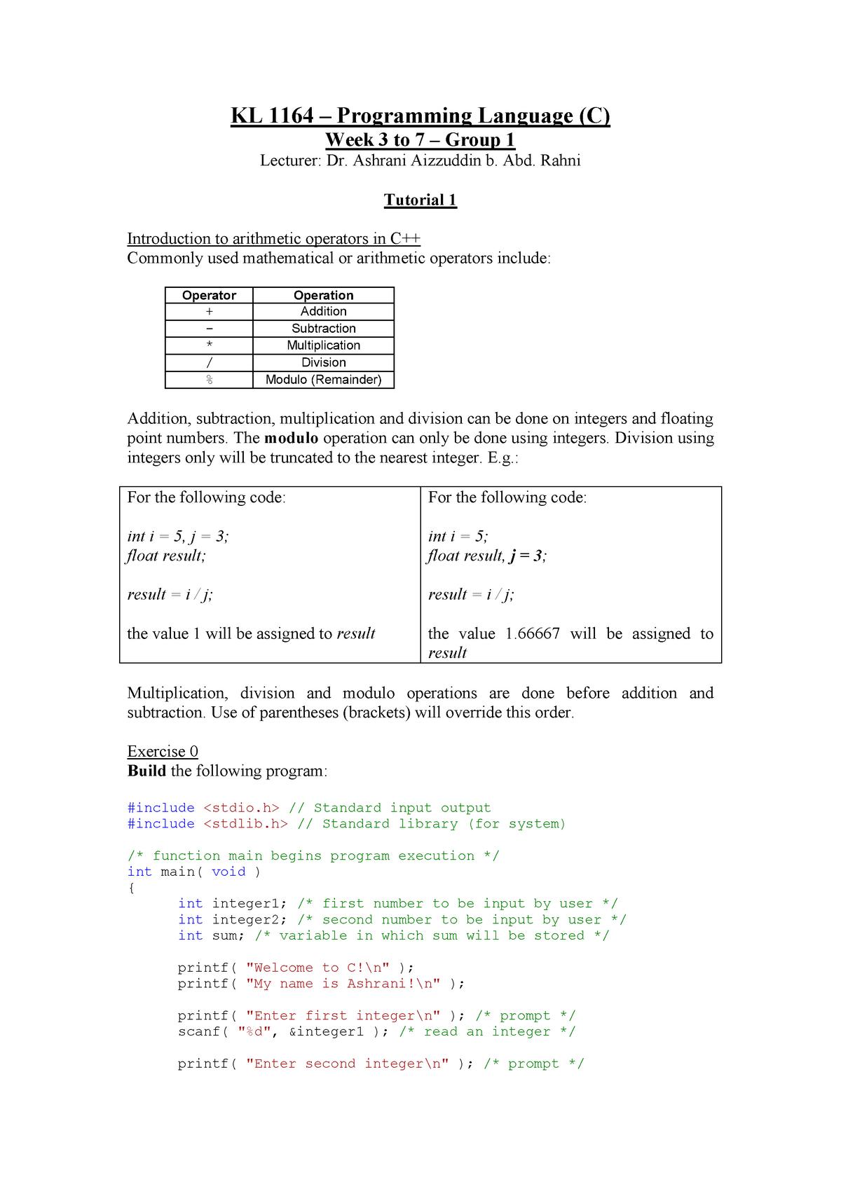 Tutorial 1 - Group 1 - KKKL1163: Programming Language - StuDocu