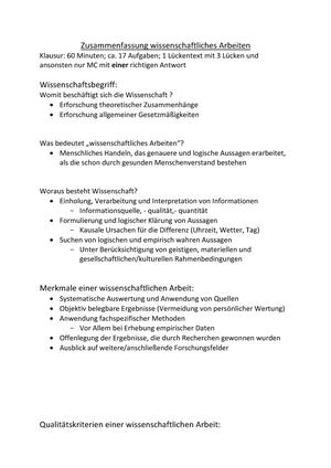 Zusammenfassung Wissenschaftliches Arbeiten Wissenschaftliches