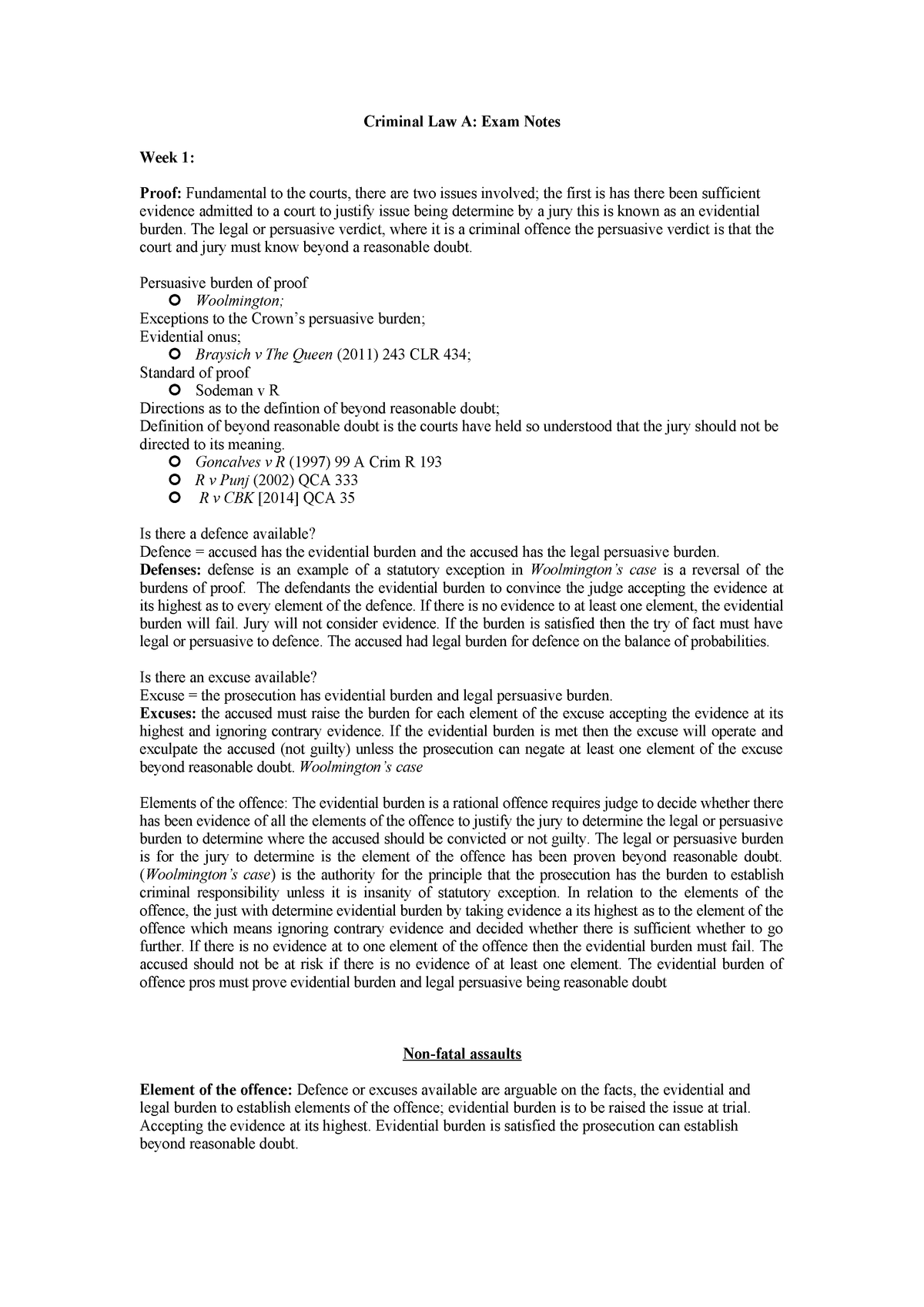 Criminal Law A Exam Notes - Lecture Notes, Lectures Week 1 - 12