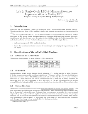 Second Lab Assignment - ECEN 4243: Computer Architecture