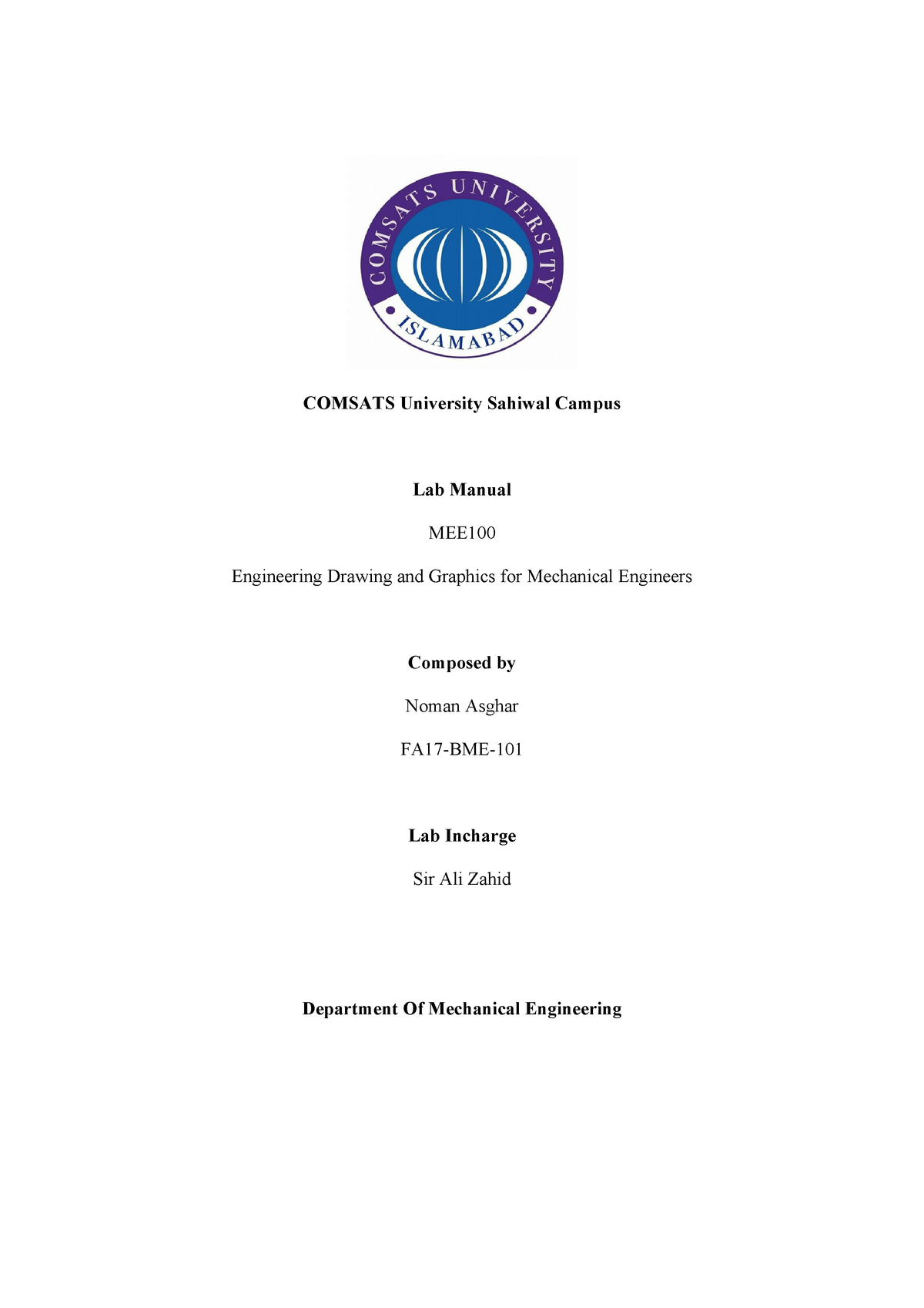 Autocad Lab Report - Engineering Drawing and Graphics MEE100