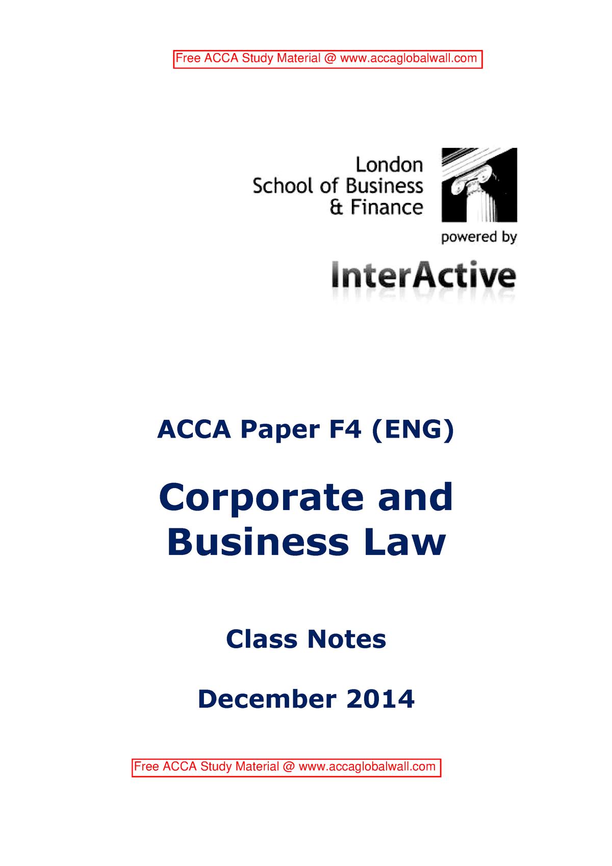 ACCA F4 Study Notes LSBF - P3: Acca - StuDocu