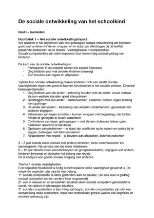 Samenvatting De Sociale Ontwikkeling Van Het Schoolkind 18 Mar 2014