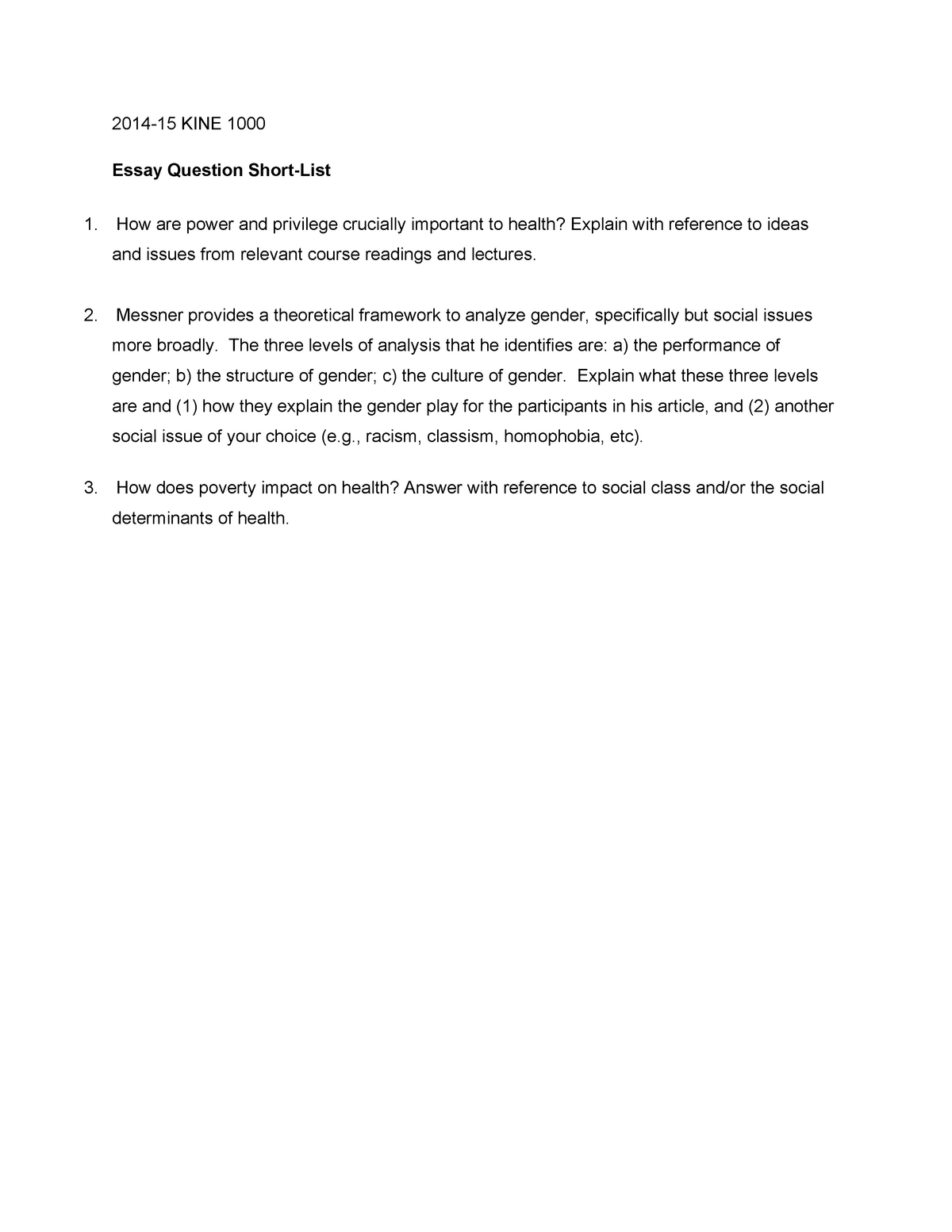 Exam 2015 - Hh/Kine 1000: Sociocultural Perspectives in