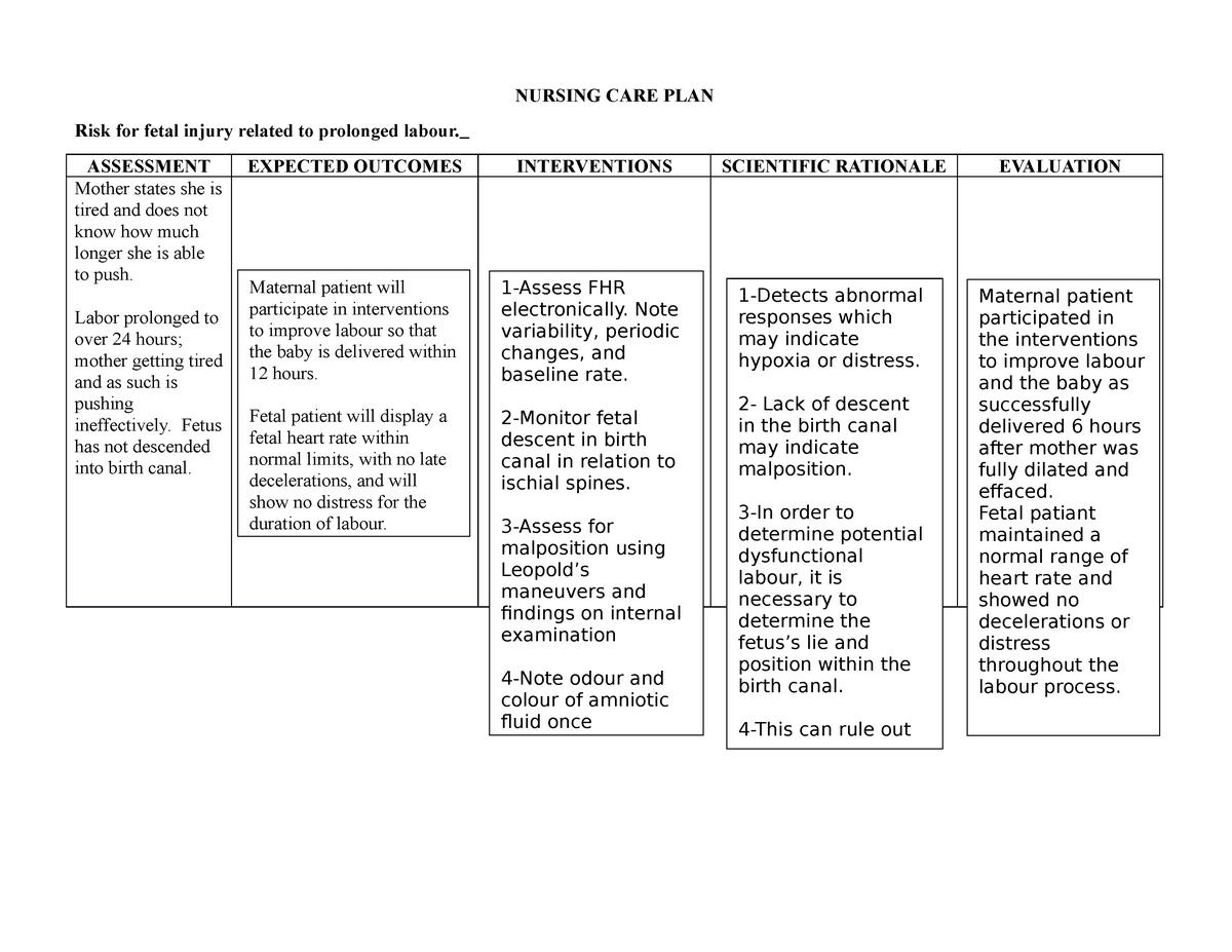 Care plan - fetal injury and prolonged labor - NSG 2057 ...