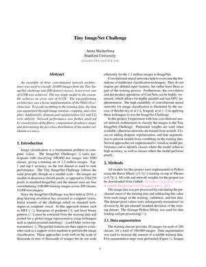 Tiny imagenet challenge - CS 231n - Stanford - StuDocu