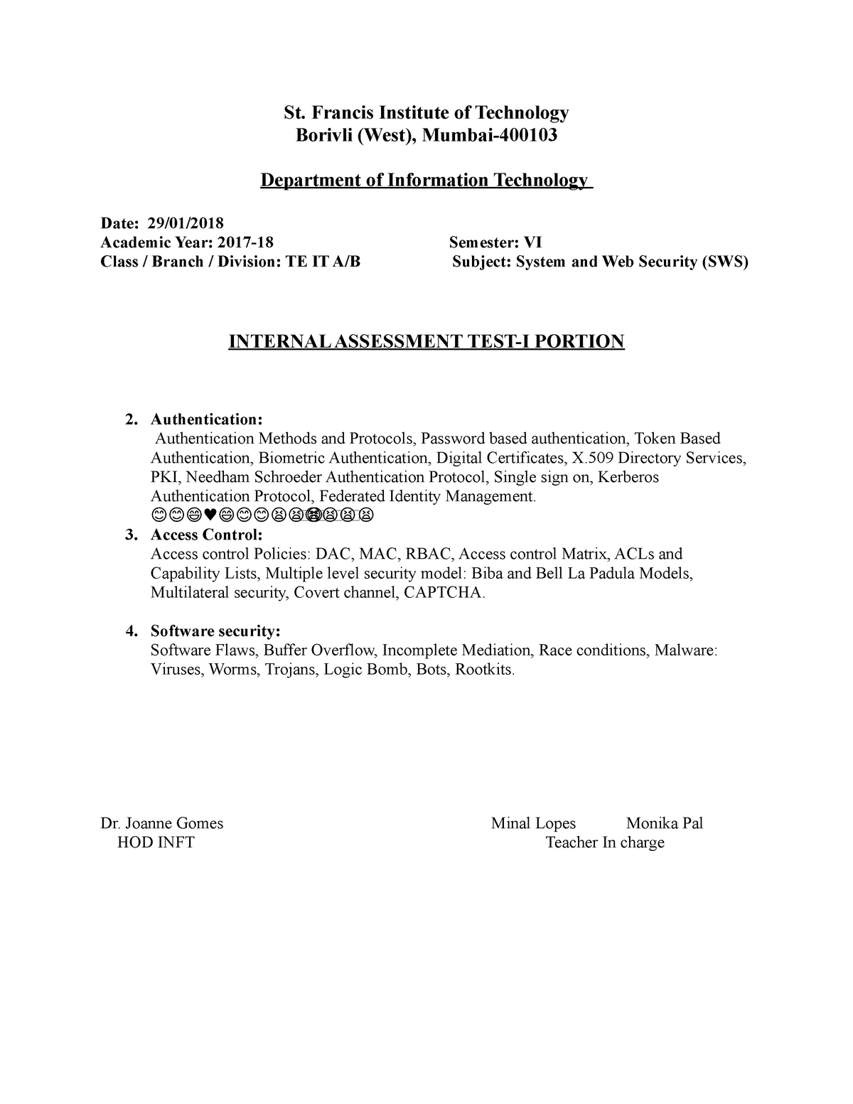 IAT1-Portion-SWS - syllabus for internal assesment test