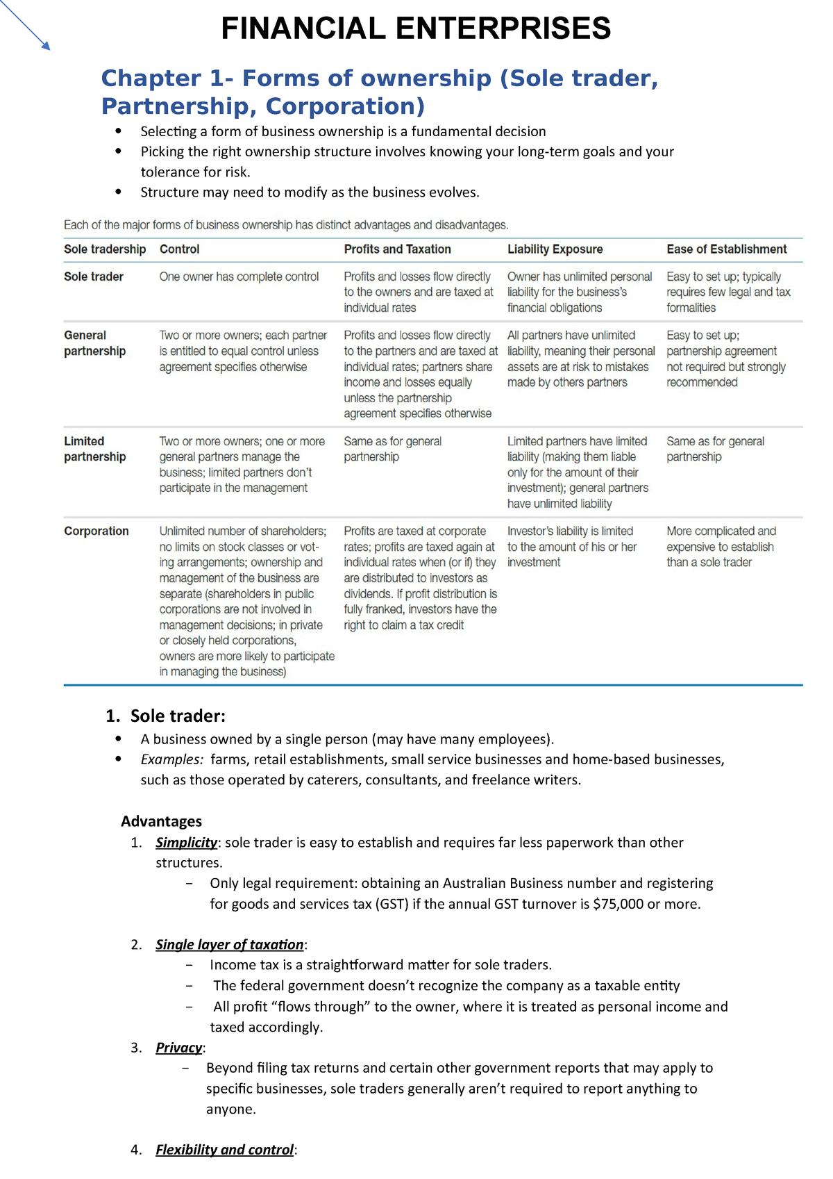 Financial Enterprises notes docx - 721007 - UWS - StuDocu