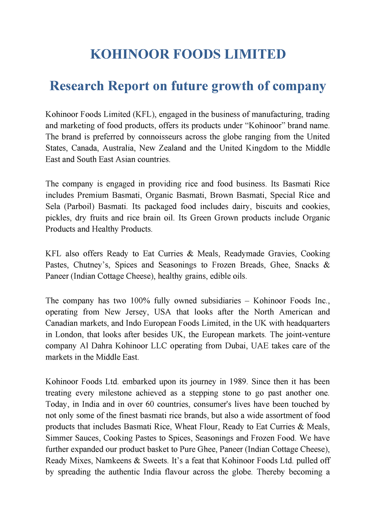 Kohinoor Foods limited research report - AY5105: Corporate