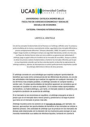Finanzas Internacionales Limites Al Arbitraje Studocu