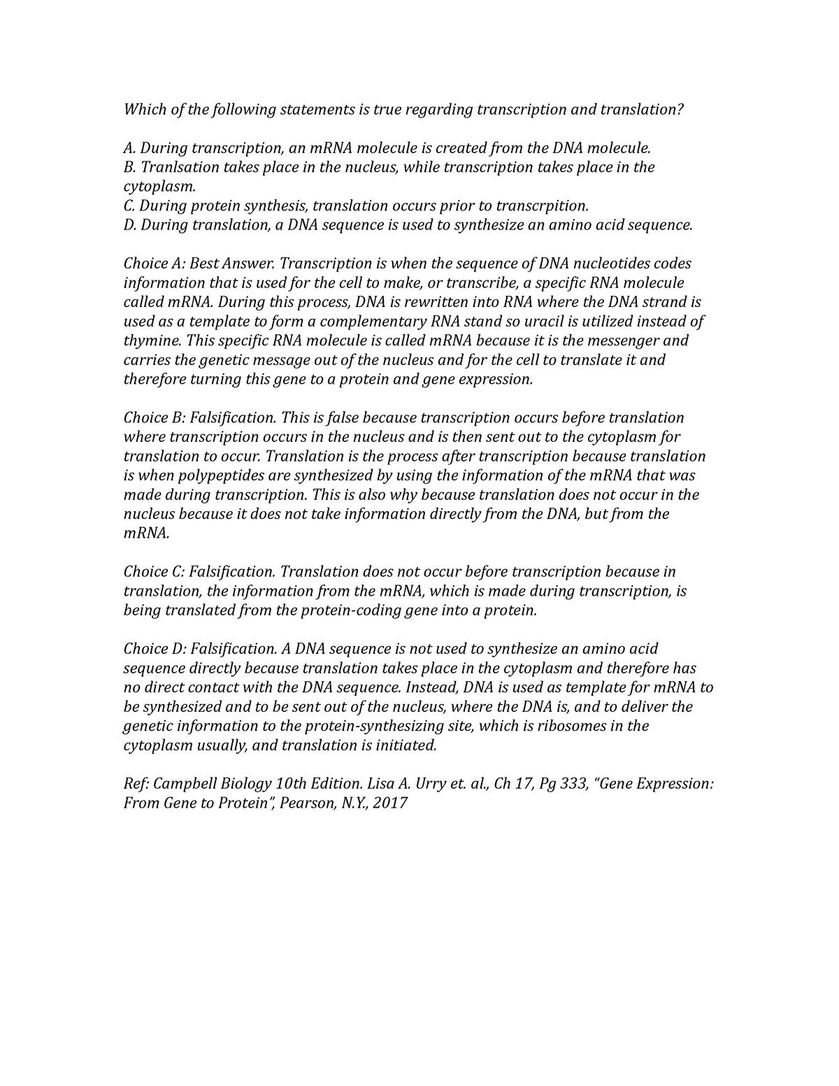 Discussion Board 8 - Transcription And Translation - StuDocu