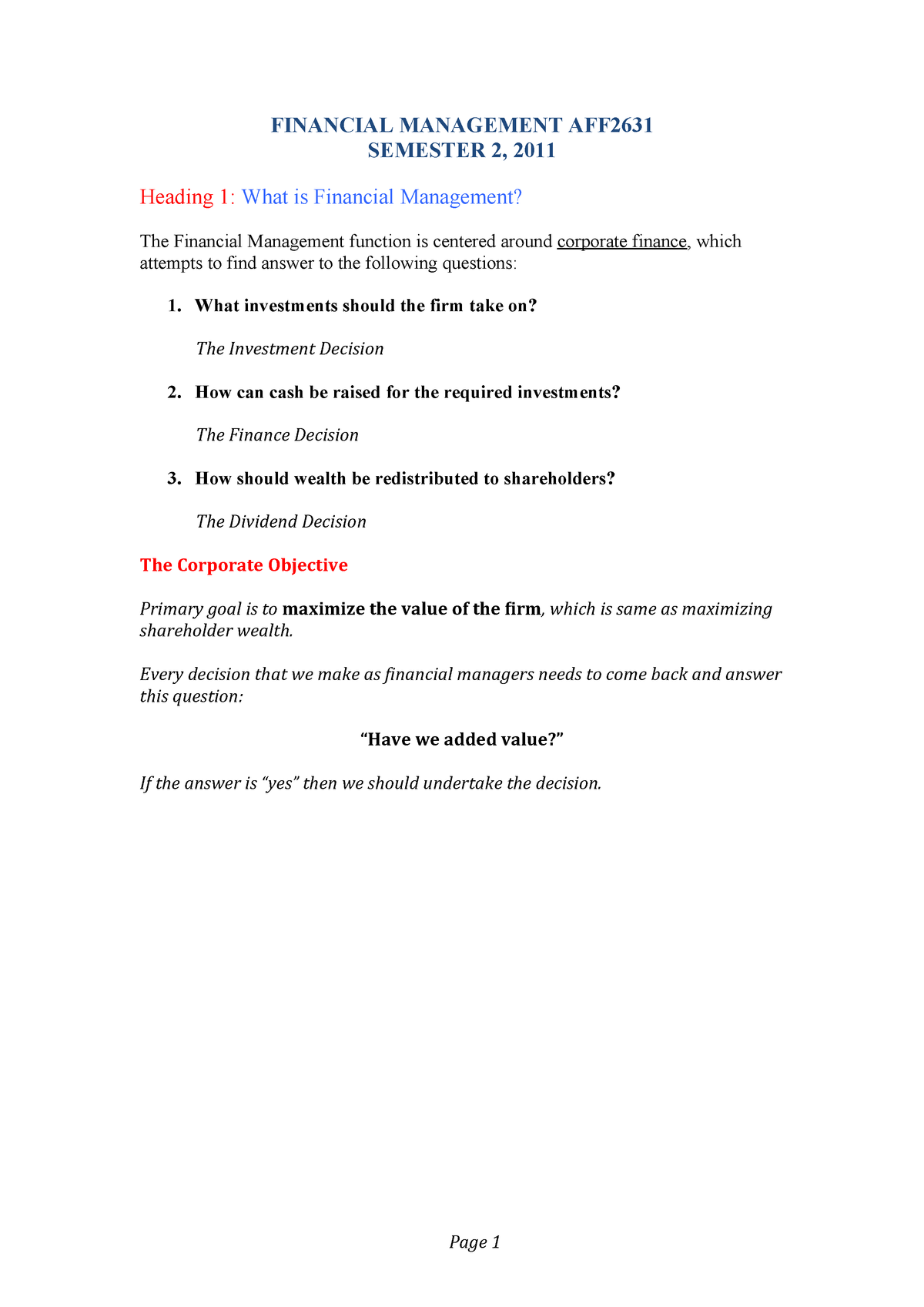 Financial Management - Lecture notes, lectures 1 - 10 - StuDocu