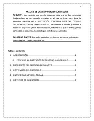 Analisis Del Curriculo Educativo Bre Procesos Curriculares