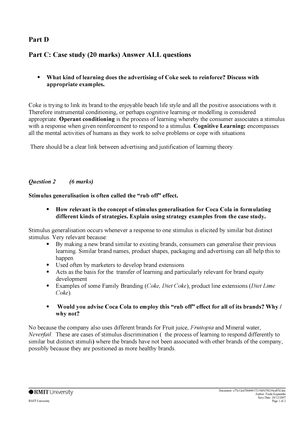 Suggested Answers to Case study Questions - MKTG1050 - RMIT