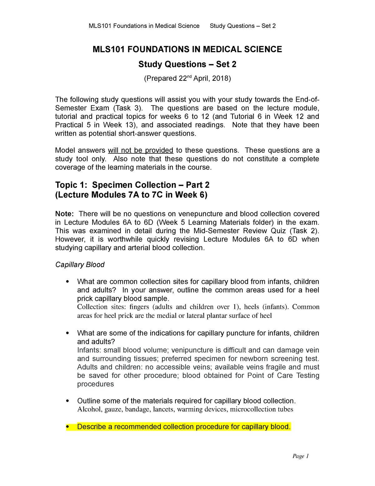Exam 2018 - MLS101: Introduction to Medical Laboratory Science - StuDocu