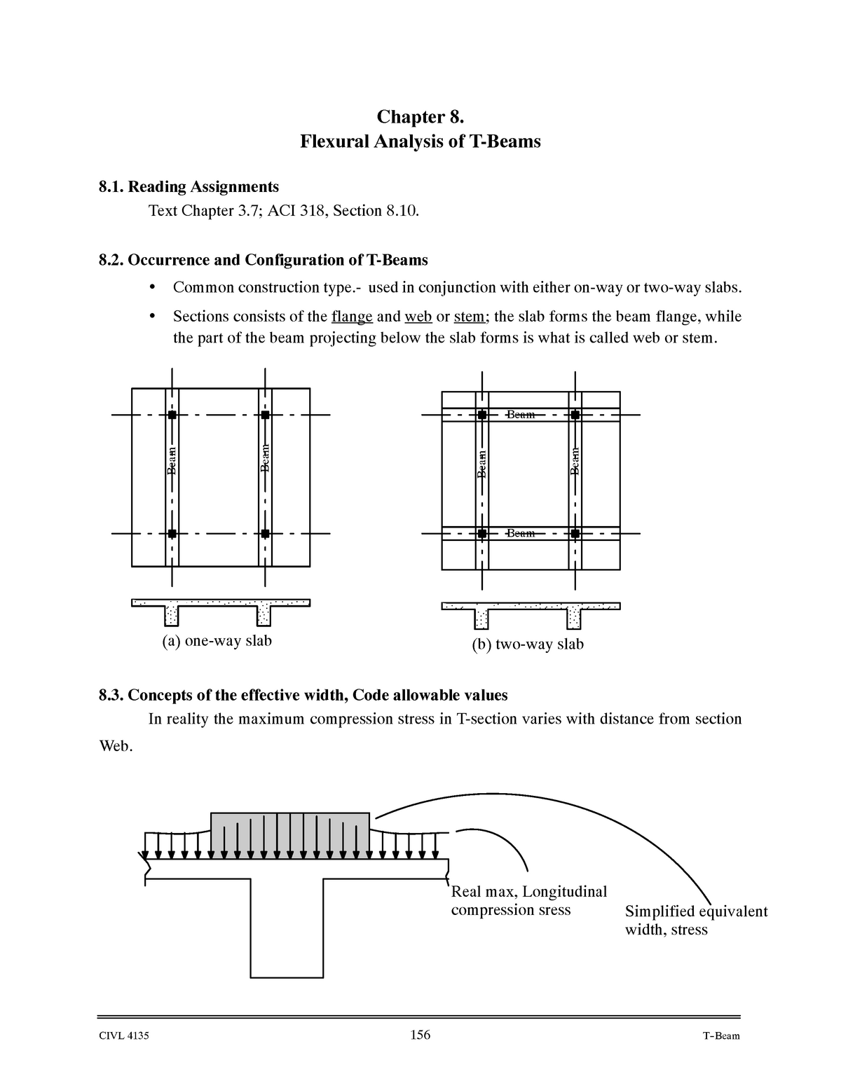 Chapter 8 Flexural Analysis of T-Beams - CIVL 4135: Reinforced