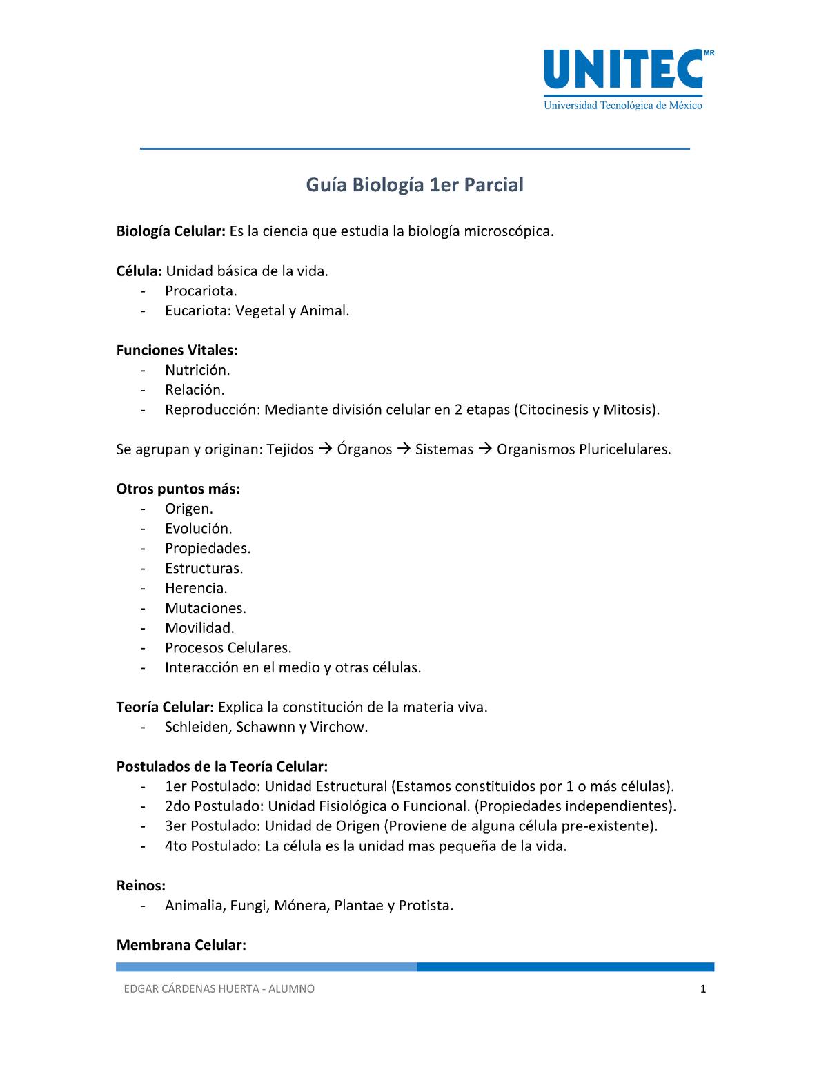Guía Guía Biología Ft1101 Unitec Studocu