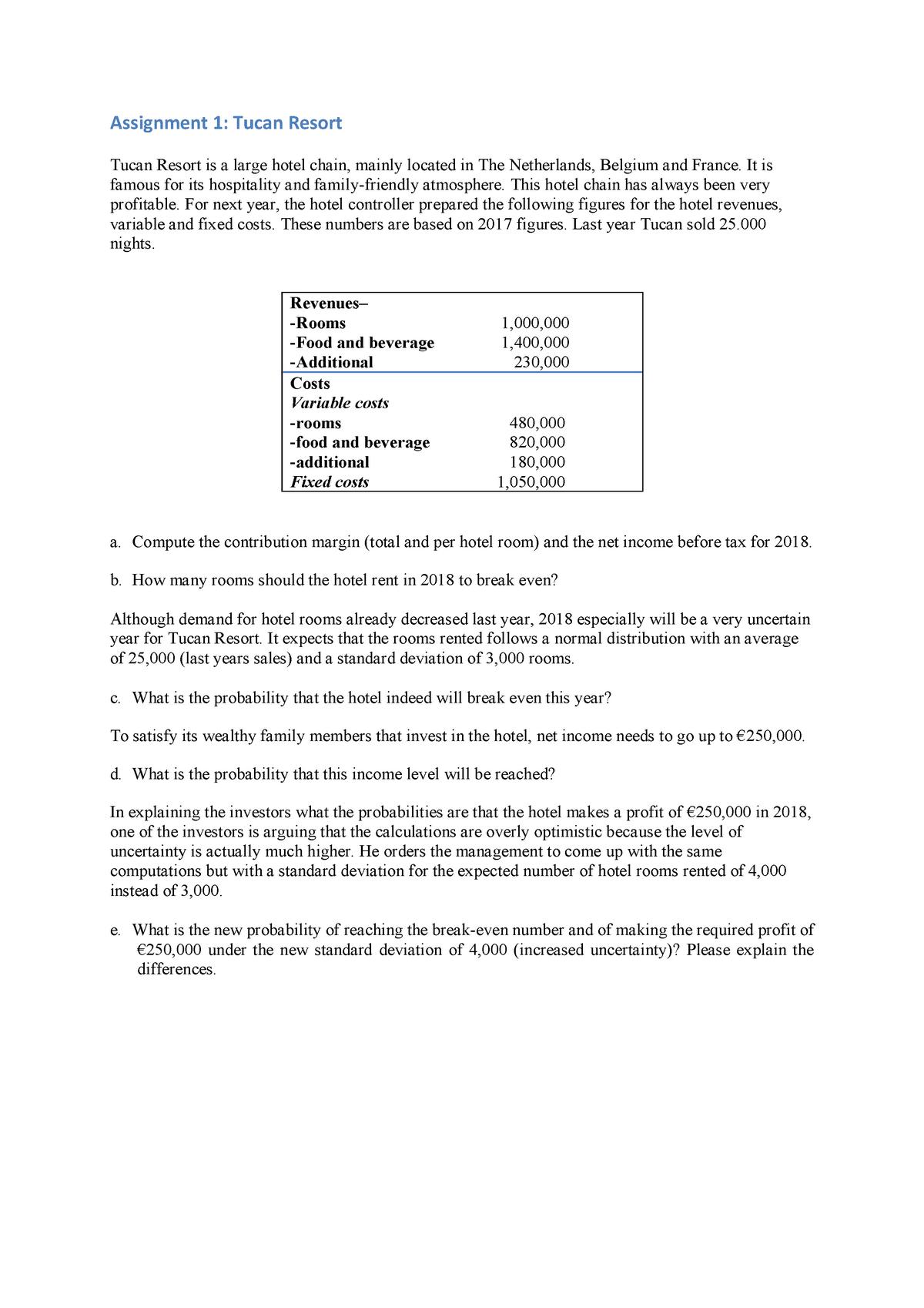 Assignment 1 - Tucan Resort - Management Accounting - VU