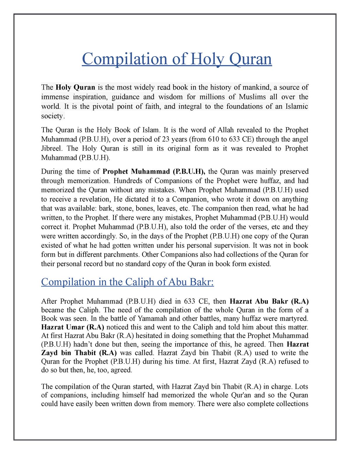 Compilation of Holy Quran - ISL - 2023 ISLAMIC STUDIES - StuDocu