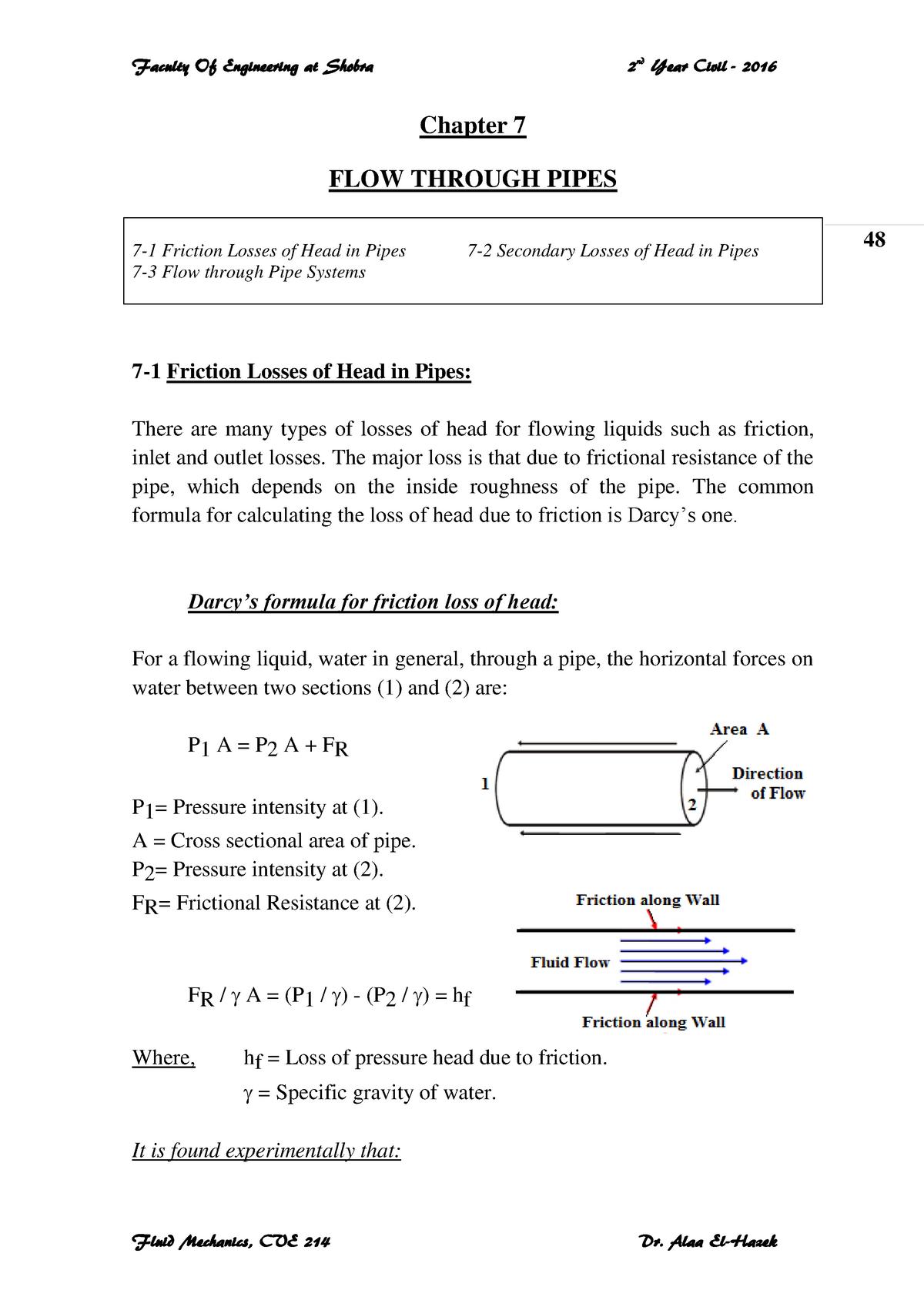 Fluids - III - Lecture notes Chapt 10 - 113 - UET Lahore