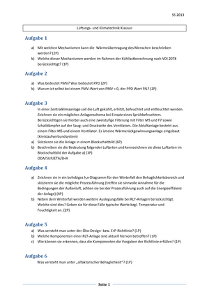 Klausur 2013 - Lüftungs-und Klimatechnik - StuDocu