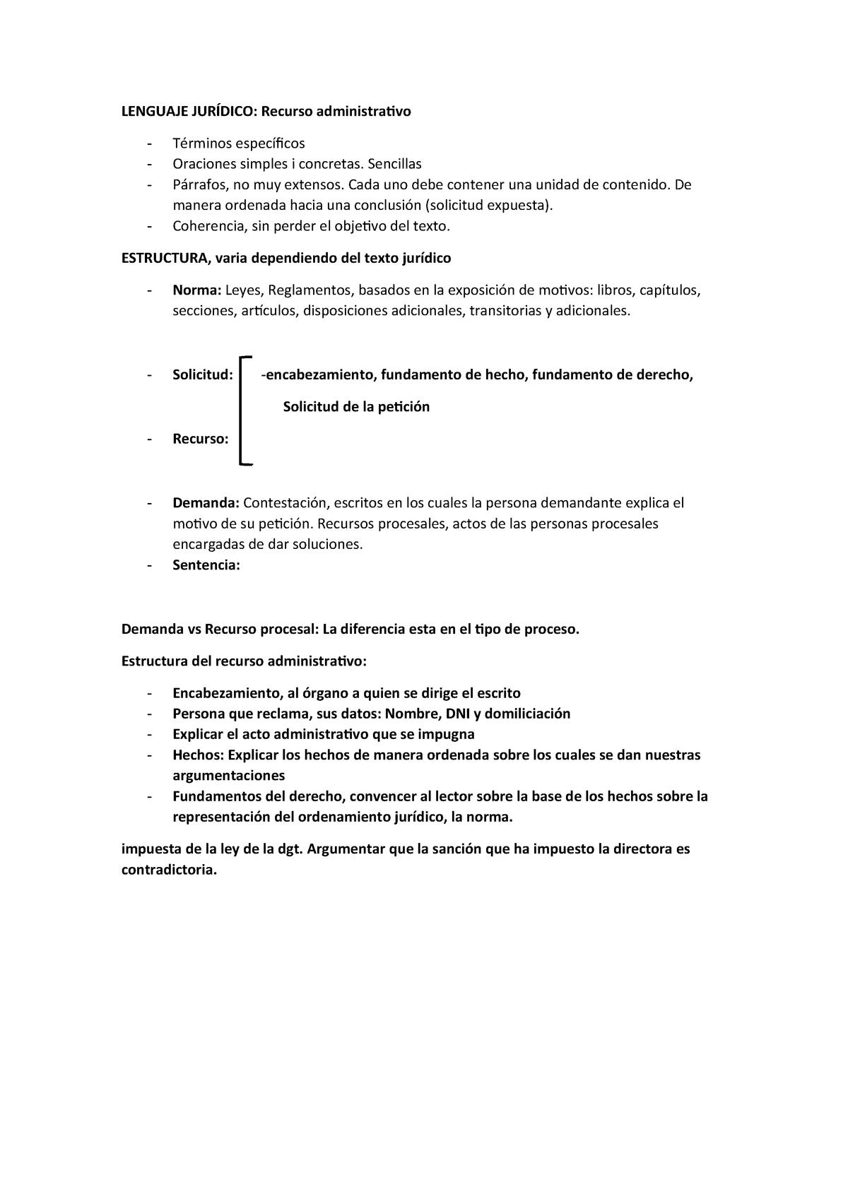 Lenguaje Jurídico Características De Un Recurso