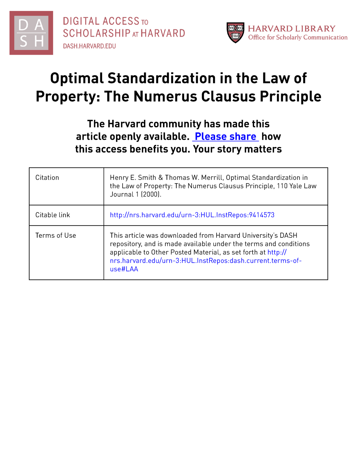 Merrill and Smith, Optimal Standardization - Commercial Law