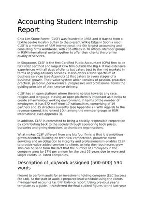 Accounting Student Internship Report - Accounting and Finance - StuDocu
