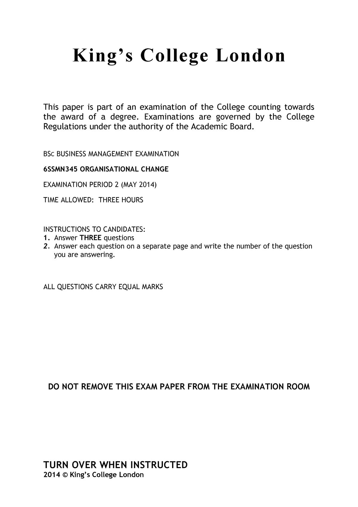 Exam 2014 - Organisational Change - StuDocu
