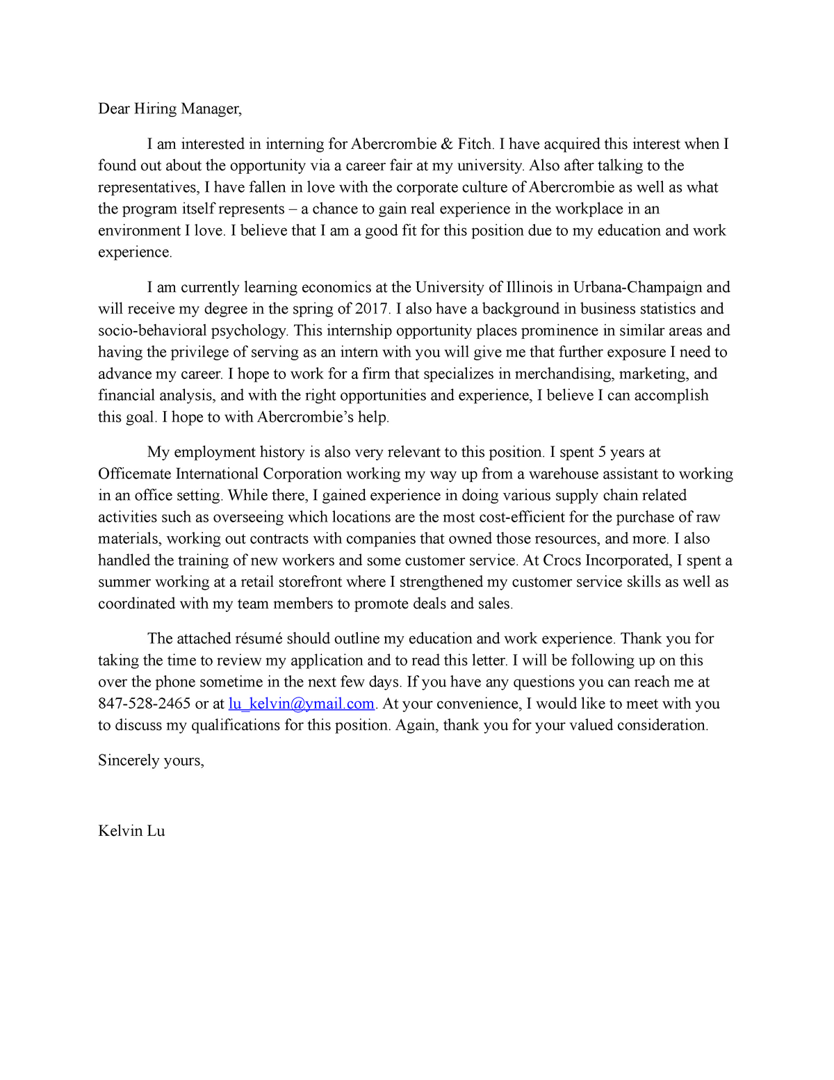 Cover Letter for Abercrombie final - BTW 250 - Illinois ...