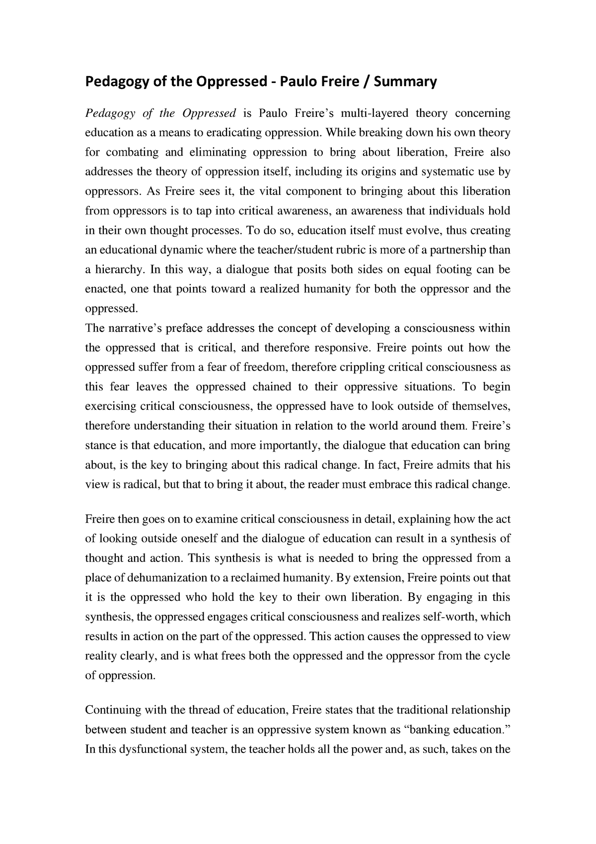 pedagogy of the oppressed essay