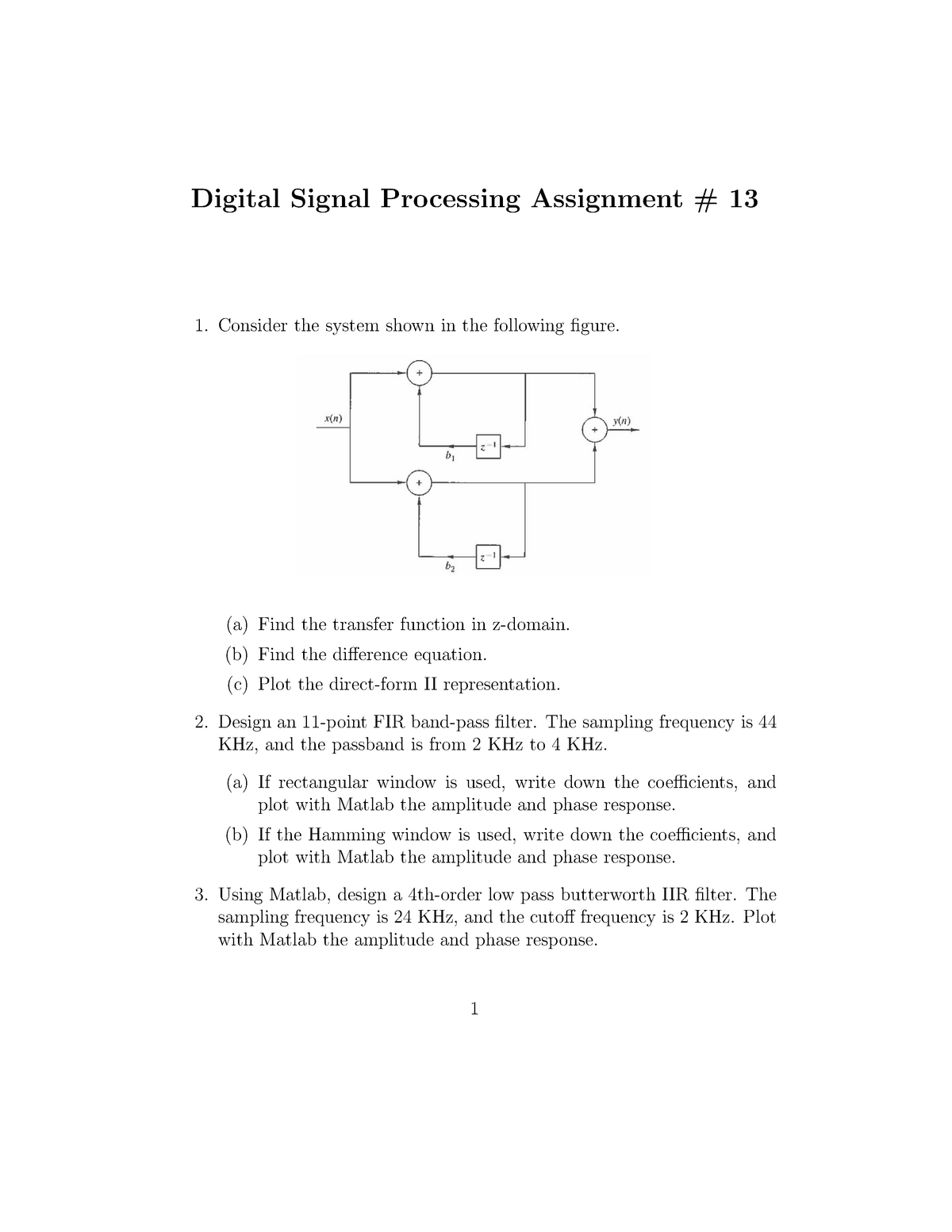 Assignment 13 - Questions - ELEG 5173L: Digital Signal Processing