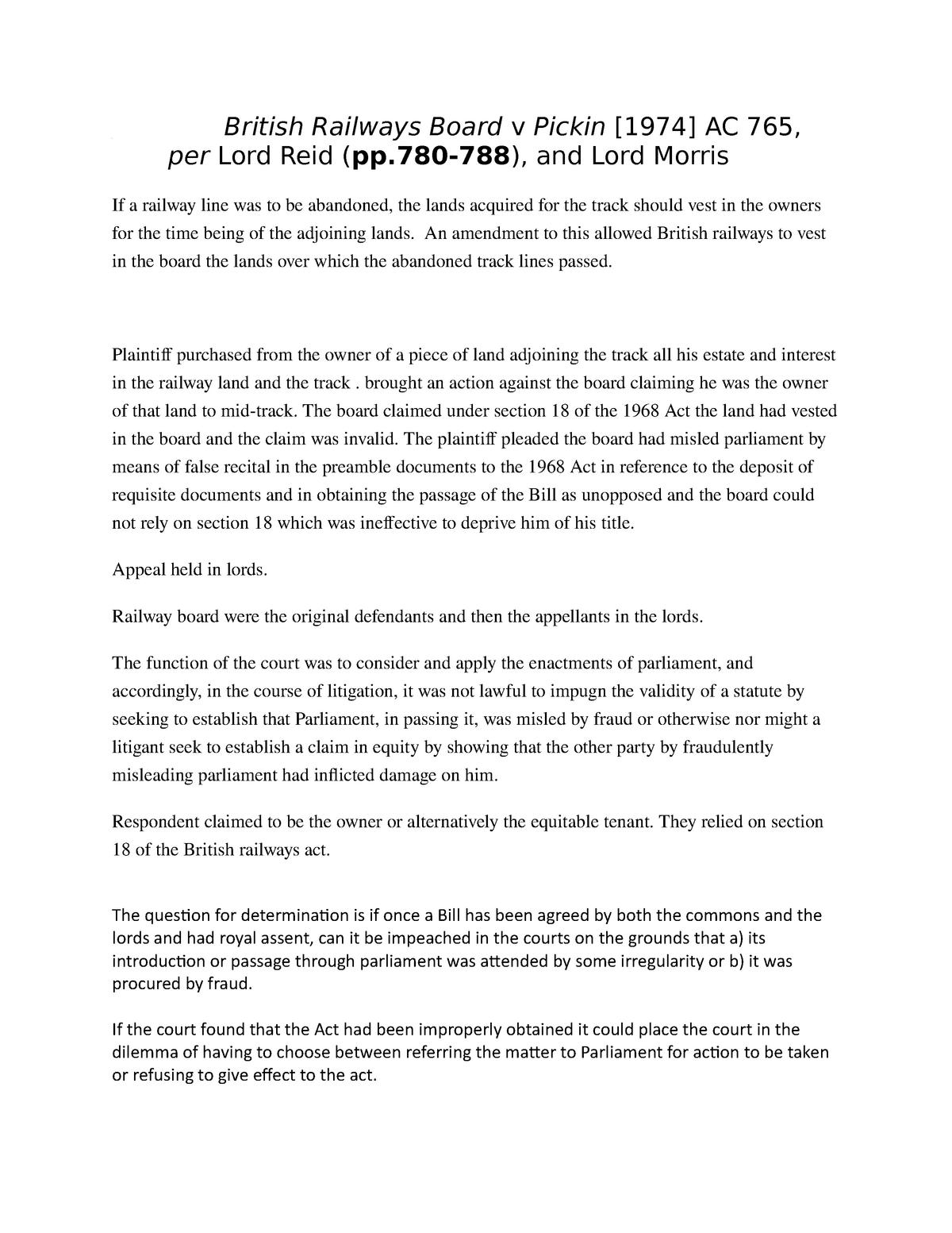 British Railways Board v Pickin - LAW 213x: Public Law - StuDocu