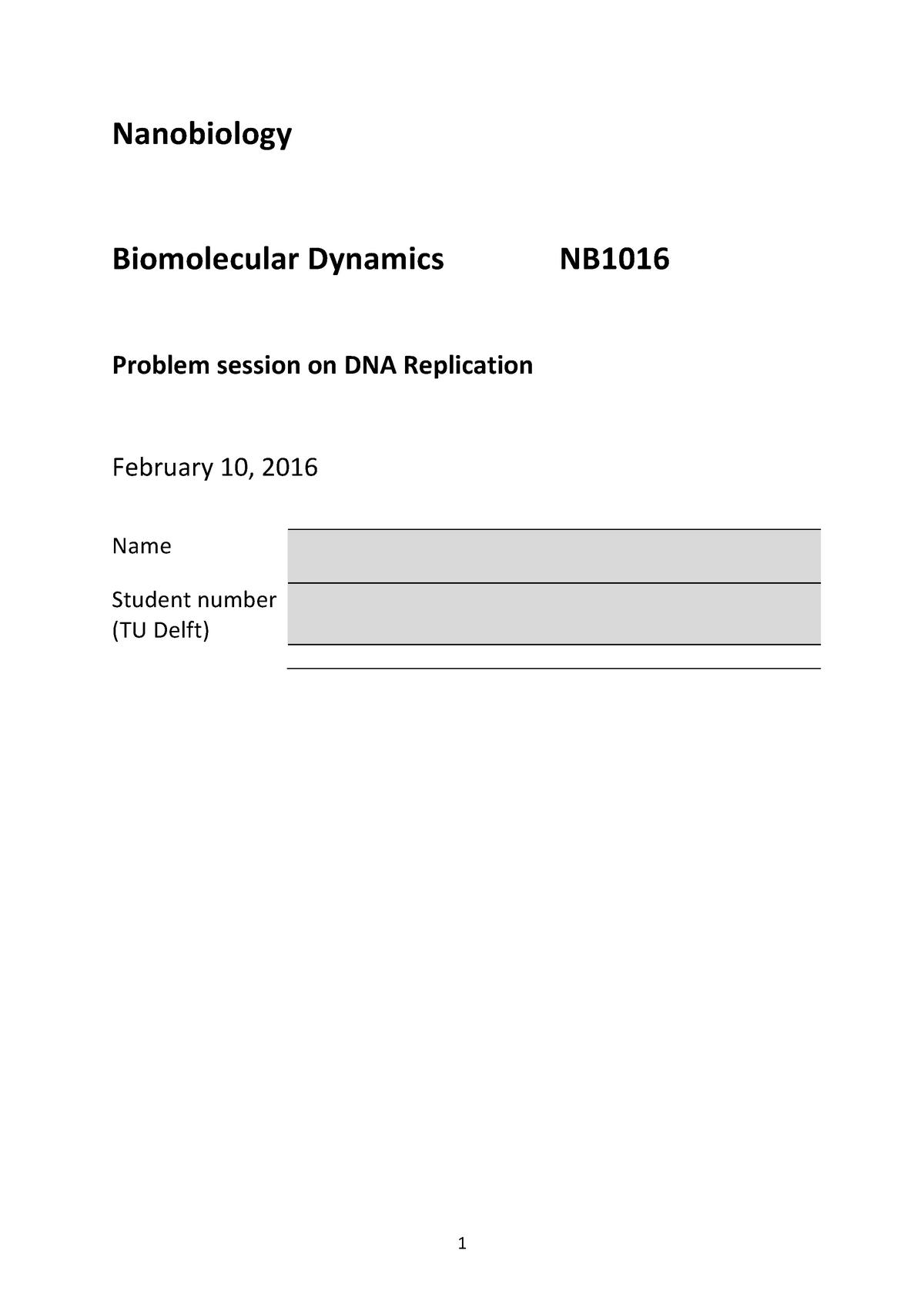 Verplichte Opgaven Problem Session Replication Nb1016 Studocu