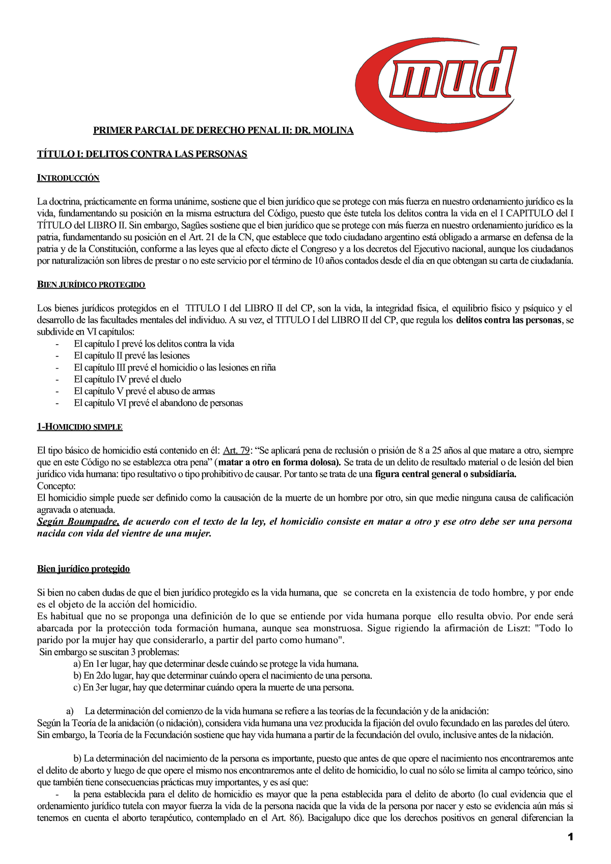 Apunte penal 2 - Dr  molina - Derecho Civil Iii - UNNE - StuDocu
