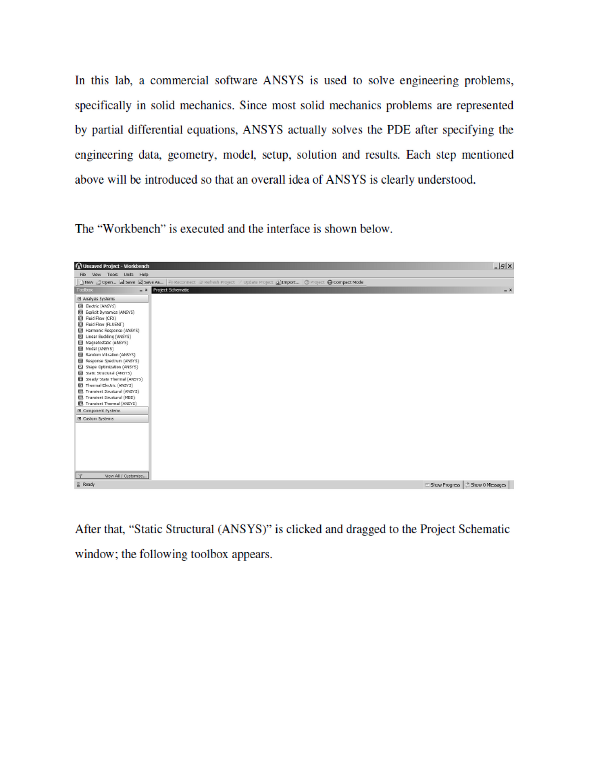 Lab 2 ANSYS Tutorial - EME4086: Finite Element Method - StuDocu