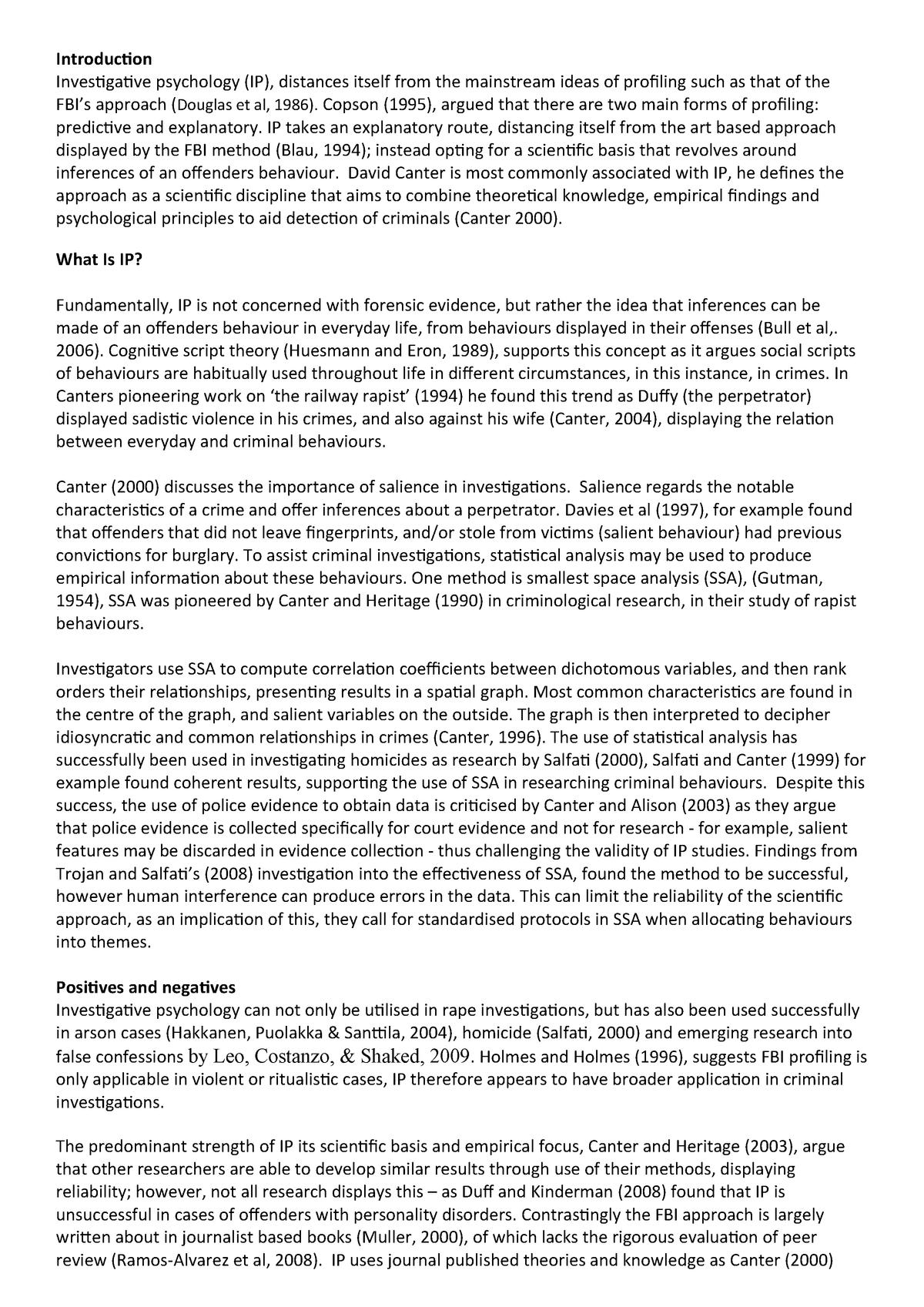 investigative psychology essay - ML95: Bsc Criminology - StuDocu