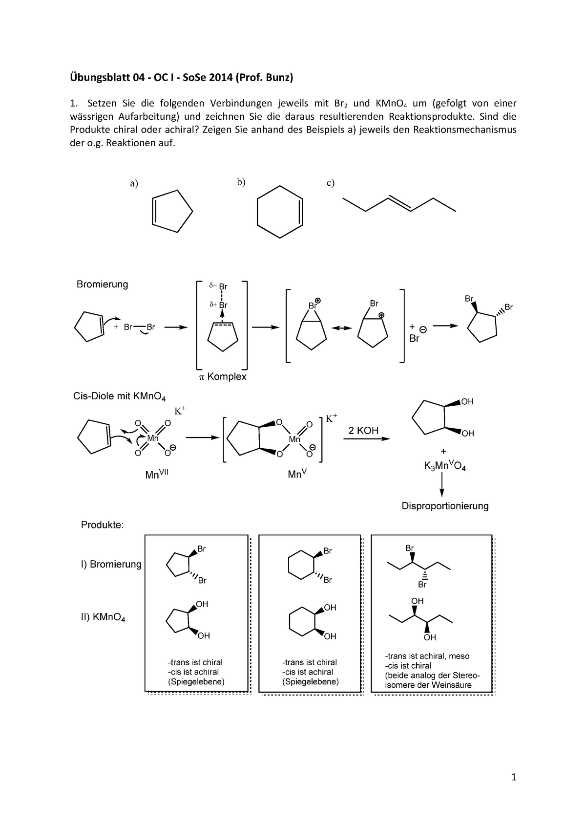 übungen übungsblatt 4 Lösung Organische Chemie 0000