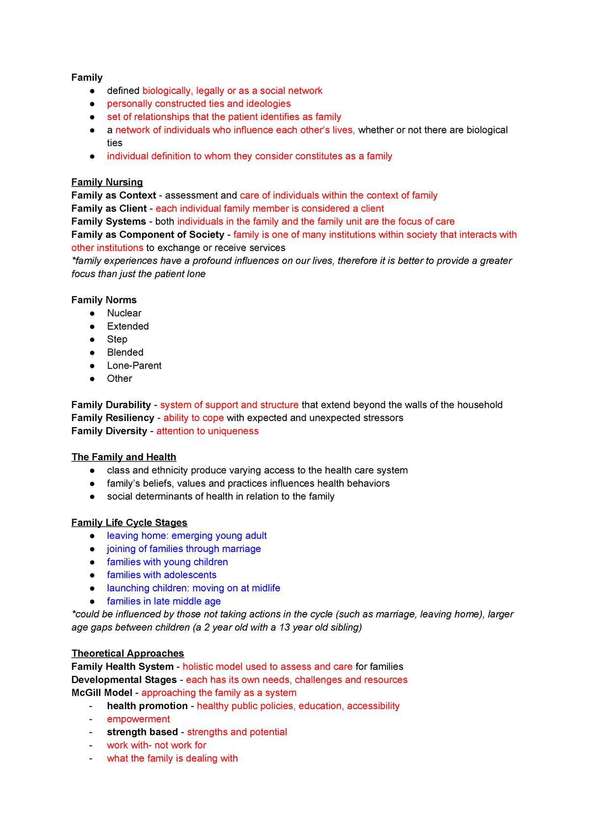 Week 5 - Family Nursing - Lecture notes 10 - NURS 124 - StuDocu