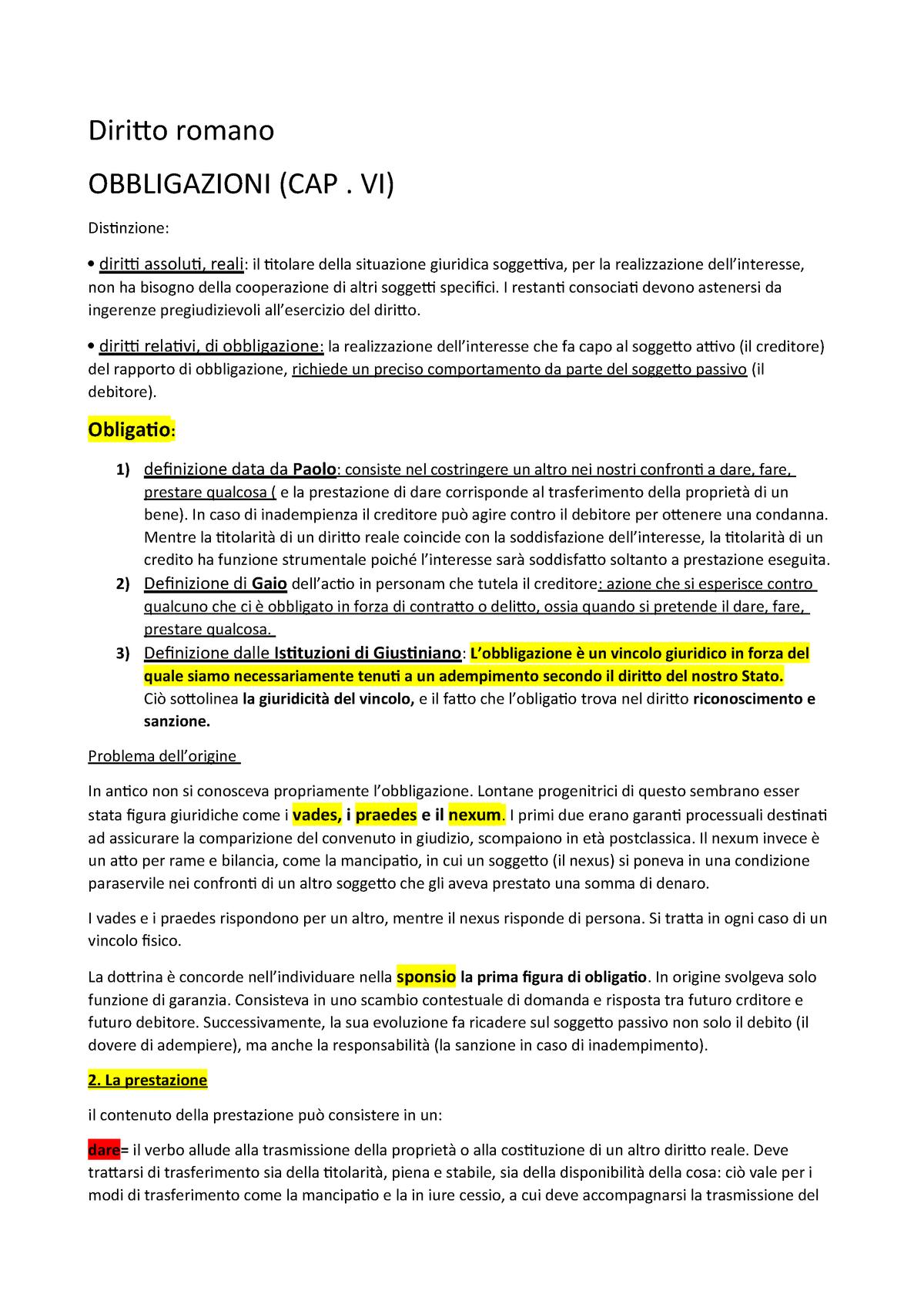 Diritto romano da obbligazioni a delitti - MN2-00536 - StuDocu