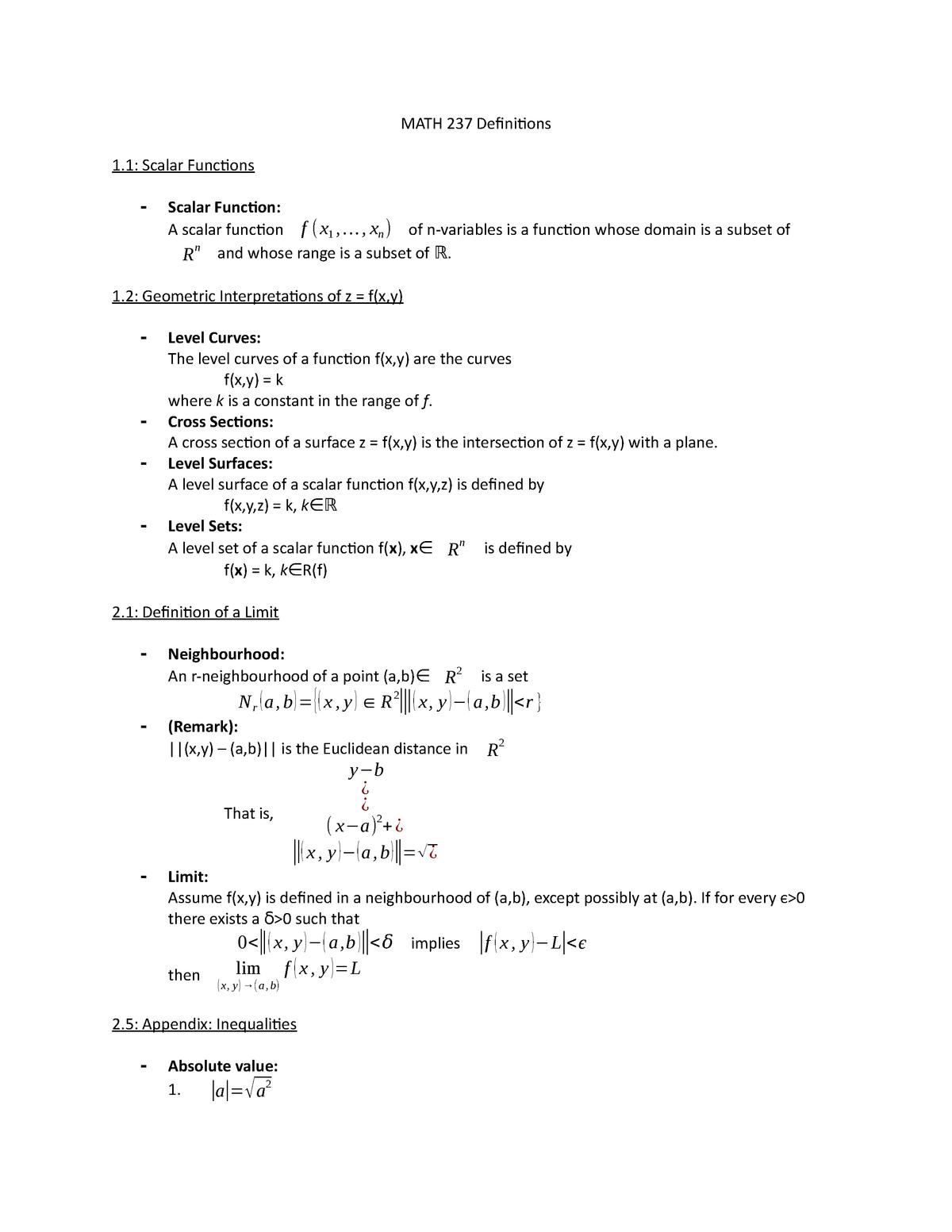 MATH 237 Definitions - Math 237 Calculus 3 for Honours Math