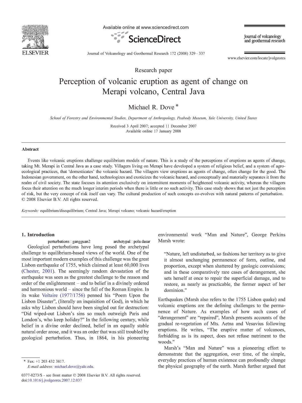 Dove Eruption Merapi - ECON 308 History of Economic Thought
