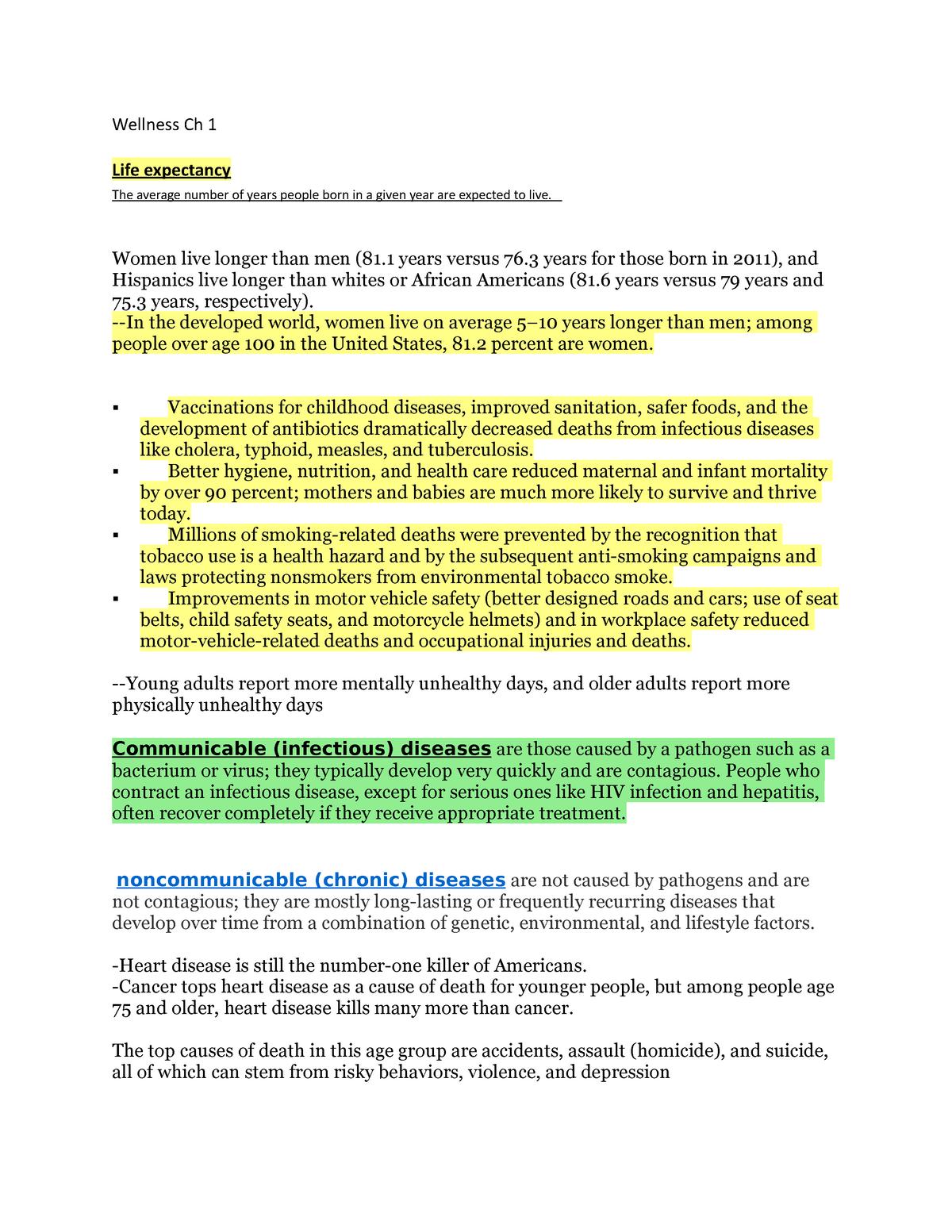 Wellness Ch 1 Notes - Grade: A - HPE 100: Wellness - StuDocu