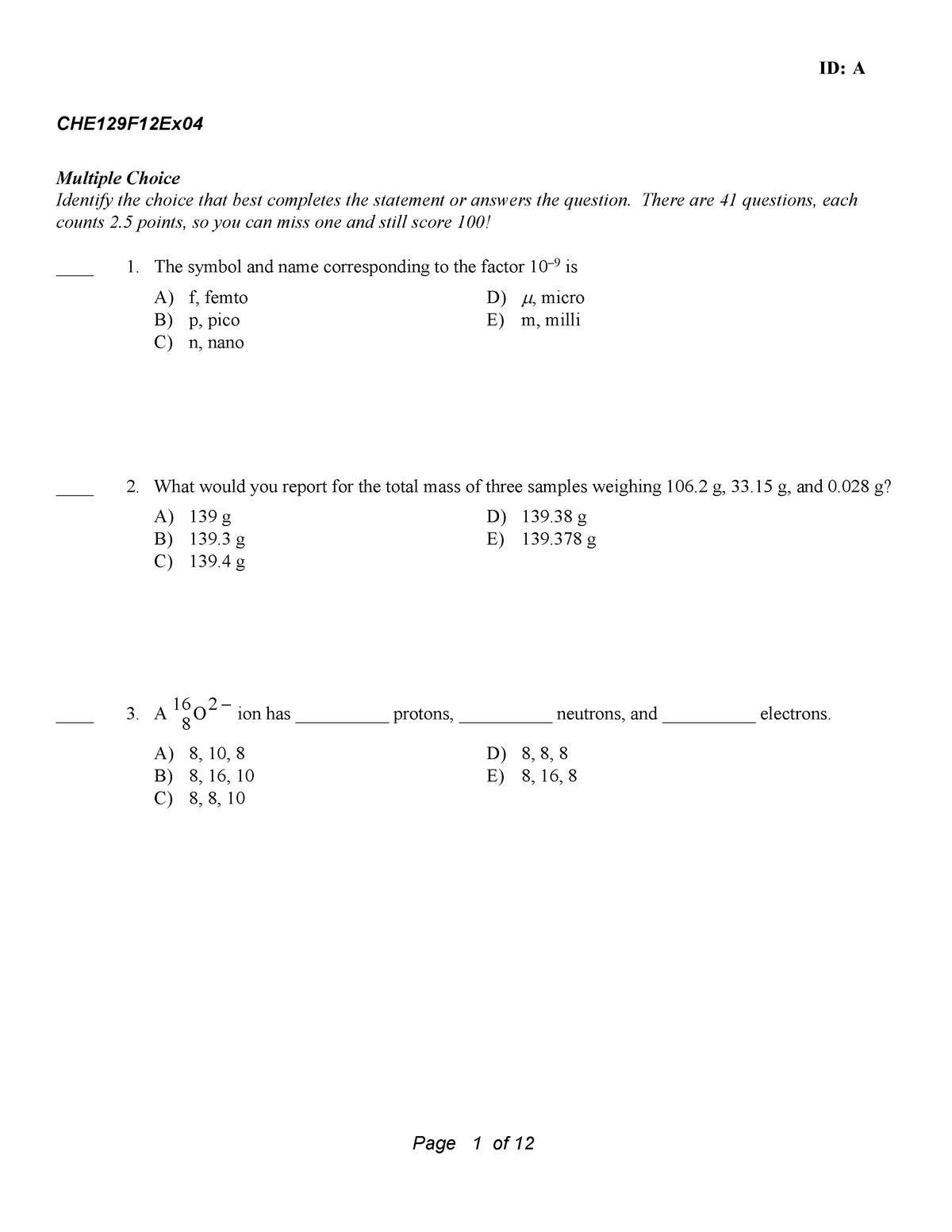 Exam 2012 - CHE 129: General Chemistry Ia - StuDocu
