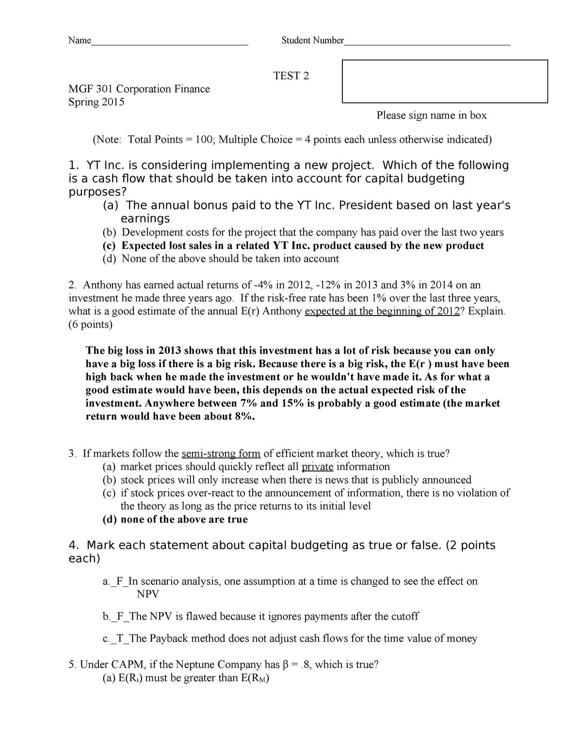 Exam 2015 - MGF 301: Corporation Finance - StuDocu