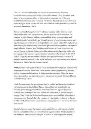 Marketing Essay On Ethics  Mm Introduction To Marketing  Studocu