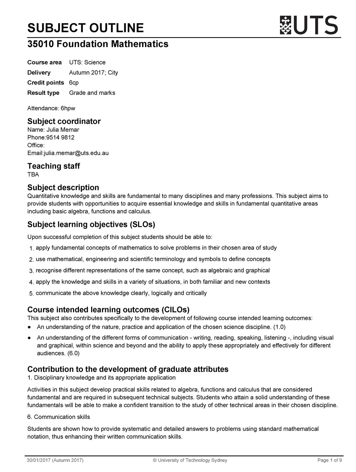 Sub outline math - 035010 : Foundation Mathematics - StuDocu